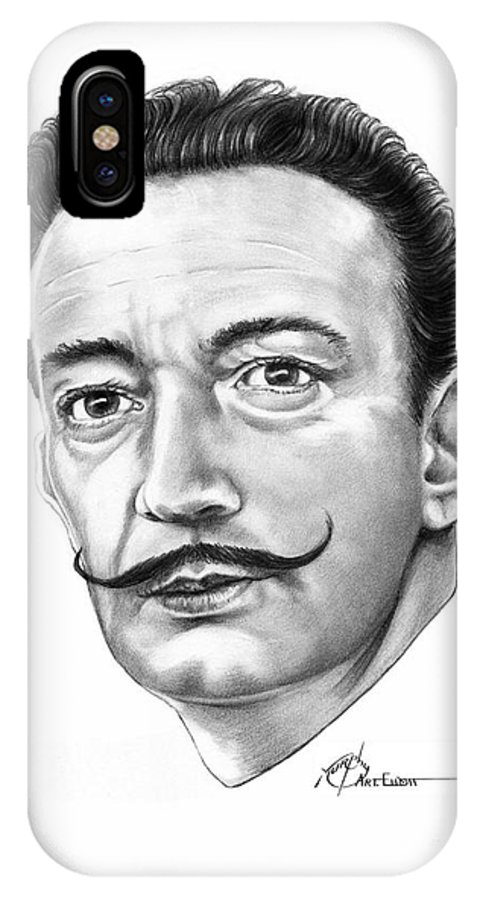 Drawing IPhone X Case featuring the drawing Salvador Dali by Murphy Elliott