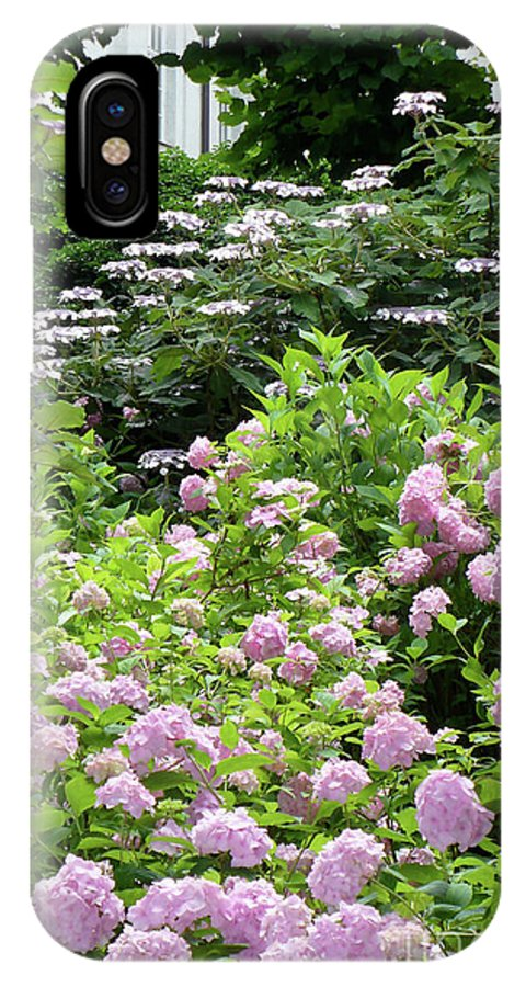 Austria IPhone X Case featuring the photograph Pink Hydrangeas In Mirabell Garden by Carol Groenen