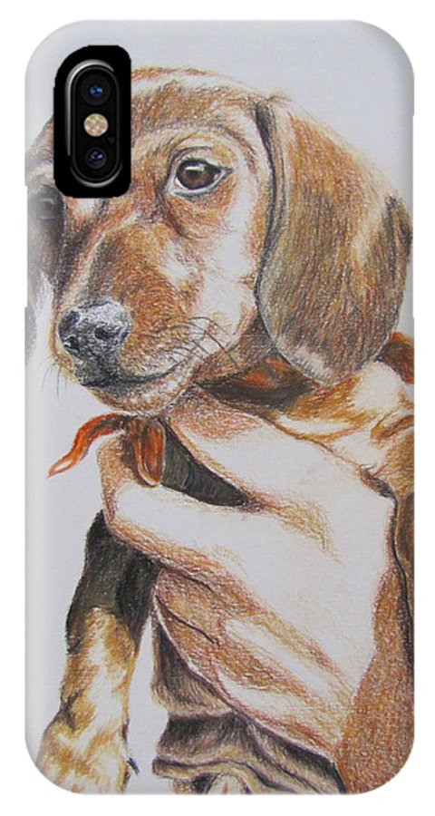 Puppy IPhone X Case featuring the drawing Sambo by Karen Ilari