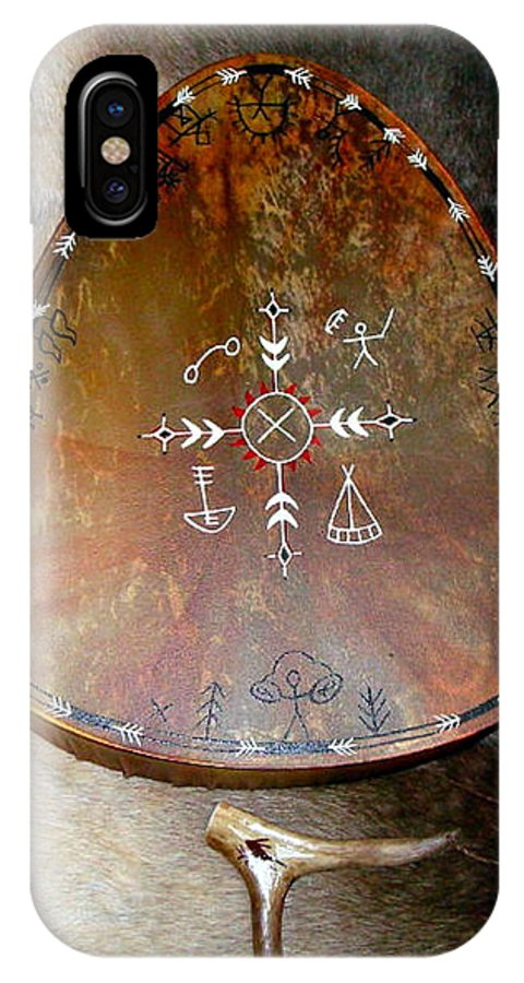 Saami IPhone X Case featuring the photograph Sami Shaman Drum by Merja Waters