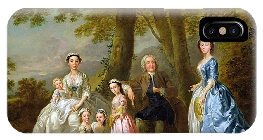 Samuel IPhone X Case featuring the painting Samuel Richardson Seated With His Family by Francis Hayman