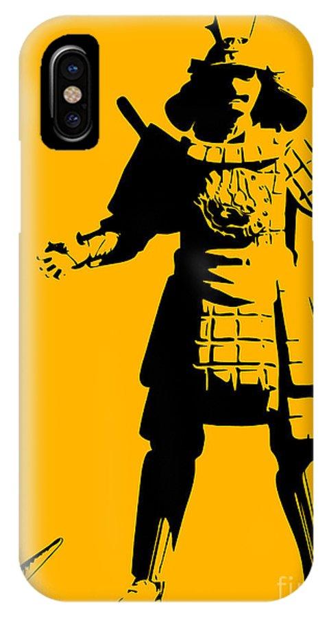 Samurai IPhone X / XS Case featuring the painting Samurai Fail by Pixel Chimp