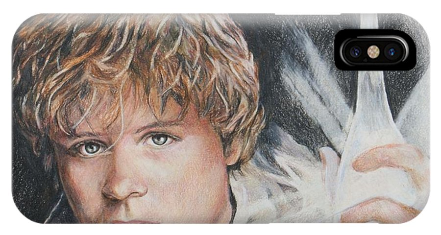 Hobbit IPhone X Case featuring the drawing Samwise Gamgee / Sean Astin by Christine Jepsen