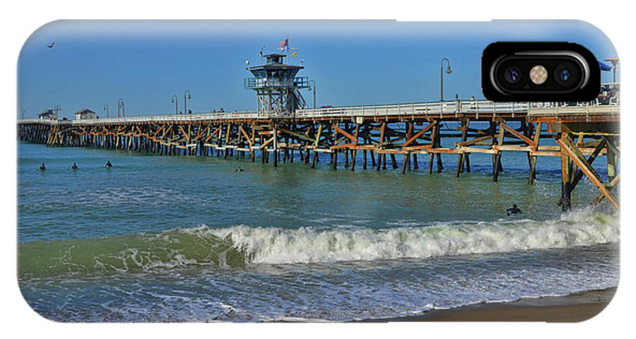 Warf IPhone X Case featuring the photograph San Clemente Pier by Tommy Anderson