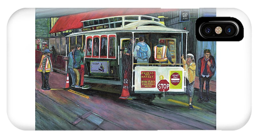 Cable Car In San Francisco IPhone X Case featuring the painting San Francisco Cable Car by Marcelle Schvimmer