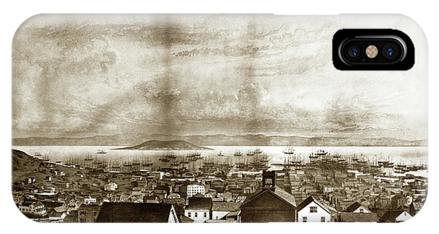 Lithograp IPhone X Case featuring the photograph San Francisco, From Clay Street, 1855 by California Views Archives Mr Pat Hathaway Archives