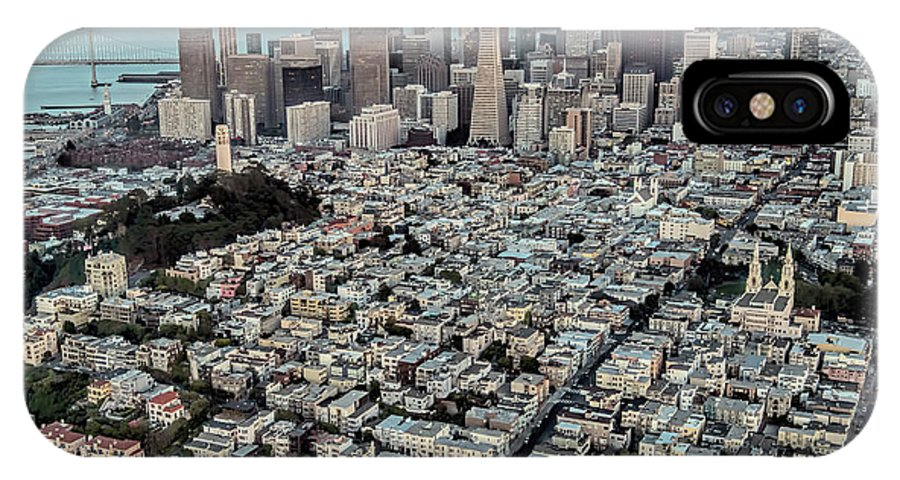 Coit Tower IPhone X Case featuring the photograph San Francisco Skyline And Coit Tower by David Oppenheimer