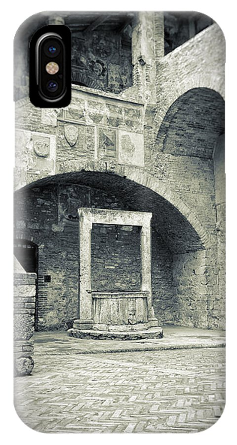 Ancient IPhone X Case featuring the photograph San Gimignano - Medieval Well by Silvia Ganora