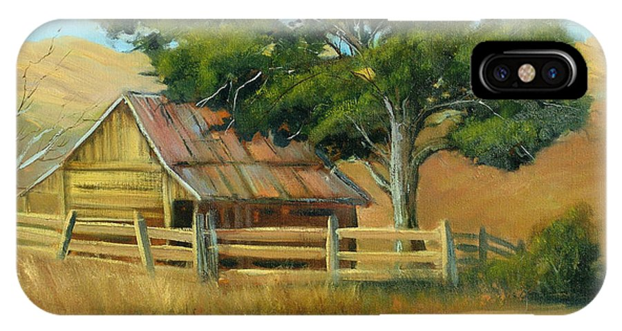 Country IPhone X Case featuring the painting San Joaquin Barn by Sally Seago