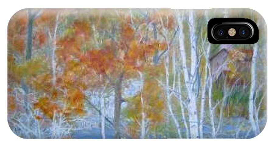 Church; Landscape; Birch Trees IPhone X / XS Case featuring the painting Sanctuary by Ben Kiger
