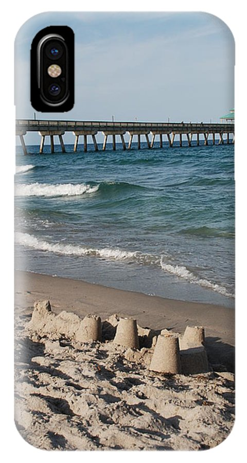 Sea Scape IPhone Case featuring the photograph Sand Castles And Piers by Rob Hans