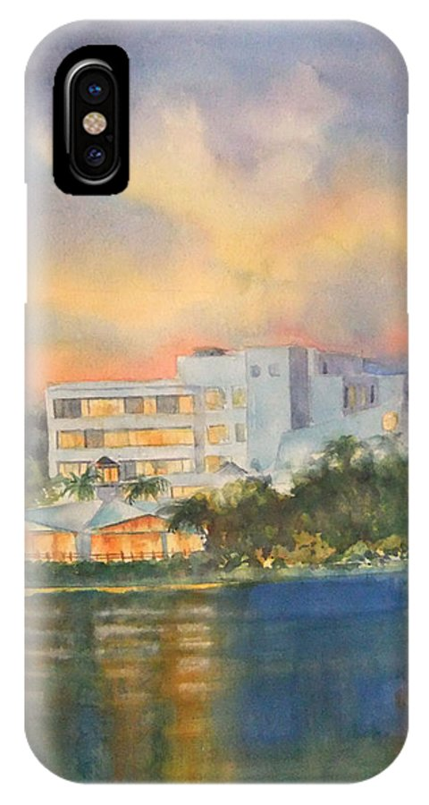 Sandcastle Hotel In Clearwater Florida IPhone X Case featuring the painting Sandcastle Retreat by Debbie Lewis
