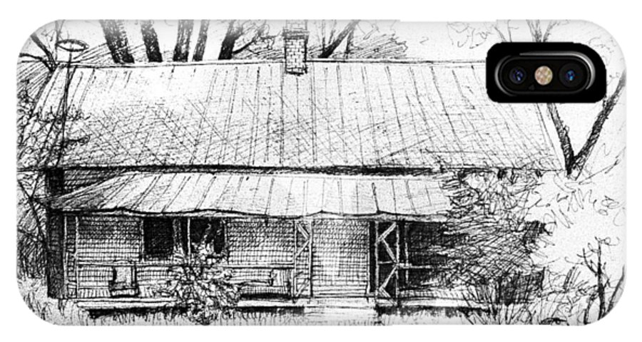 Landscape IPhone Case featuring the drawing Sandersville Road Farmhouse by Peter Muzyka