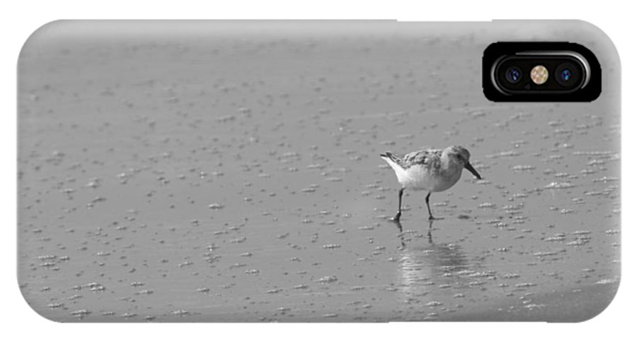 Ocean IPhone X Case featuring the photograph Sandpiper Bw by Eric Dimeck