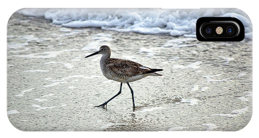 Sandpiper IPhone X Case featuring the photograph Sandpiper Escaping The Waves by Kenneth Albin