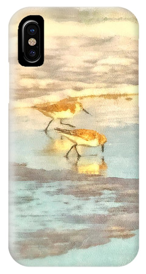 Seascape IPhone X Case featuring the photograph Sandpipers Along The Shoreline by Betsy Foster Breen
