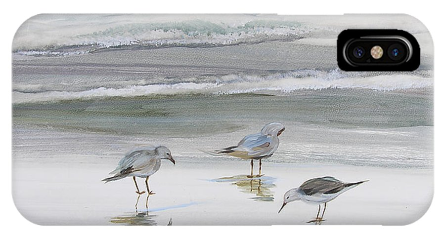 Art IPhone X Case featuring the painting Sandpipers by Julianne Felton