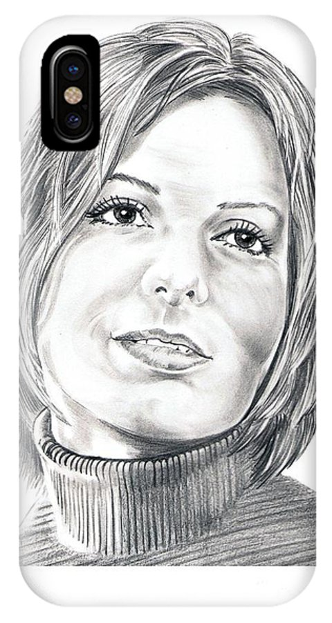 Drawing IPhone Case featuring the drawing Sandra Bullock by Murphy Elliott