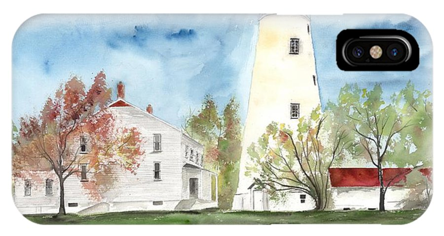 Watercolor IPhone X Case featuring the painting Sandy Hook Lighthouse by Derek Mccrea