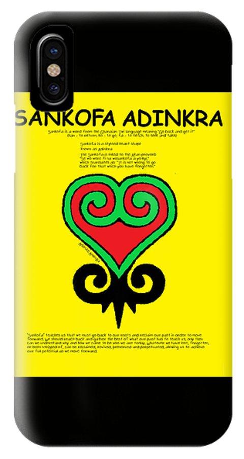 Adinkra IPhone X Case featuring the digital art Sankofa Adinkra by Adenike AmenRa