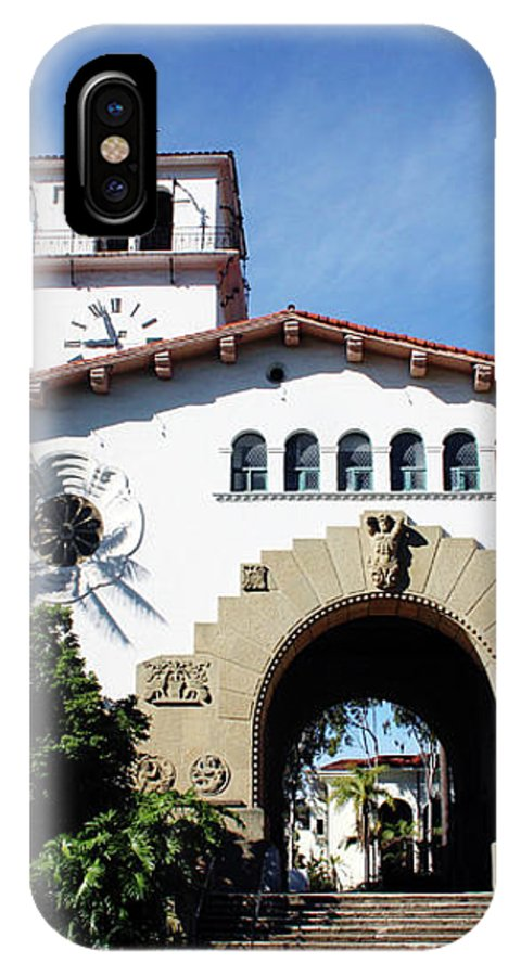 Santa Barbara IPhone X Case featuring the mixed media Santa Barbara Courthouse -by Linda Woods by Linda Woods