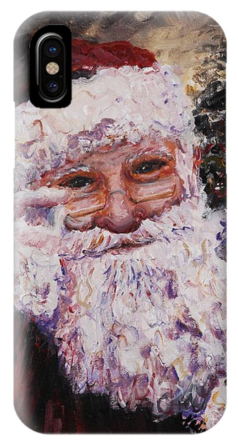 Santa IPhone X Case featuring the painting Santa Chat by Nadine Rippelmeyer