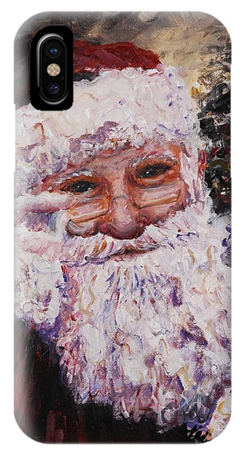 Santa IPhone X / XS Case featuring the painting Santa Chat by Nadine Rippelmeyer