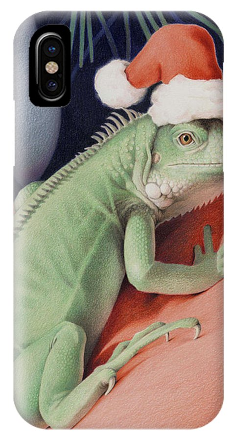 Lizard IPhone X Case featuring the drawing Santa Claws - Bob The Lizard by Amy S Turner