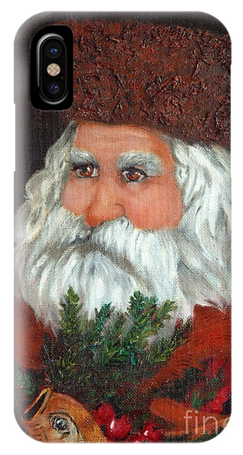 Santa IPhone X Case featuring the painting Santa by Portraits By NC
