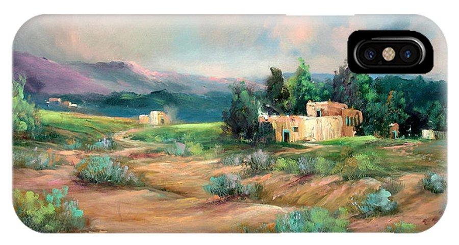Santa Fe IPhone X Case featuring the painting Santa Fe Pueblo by Sally Seago