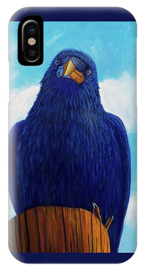 Raven IPhone X Case featuring the painting Santa Fe Smile by Brian Commerford