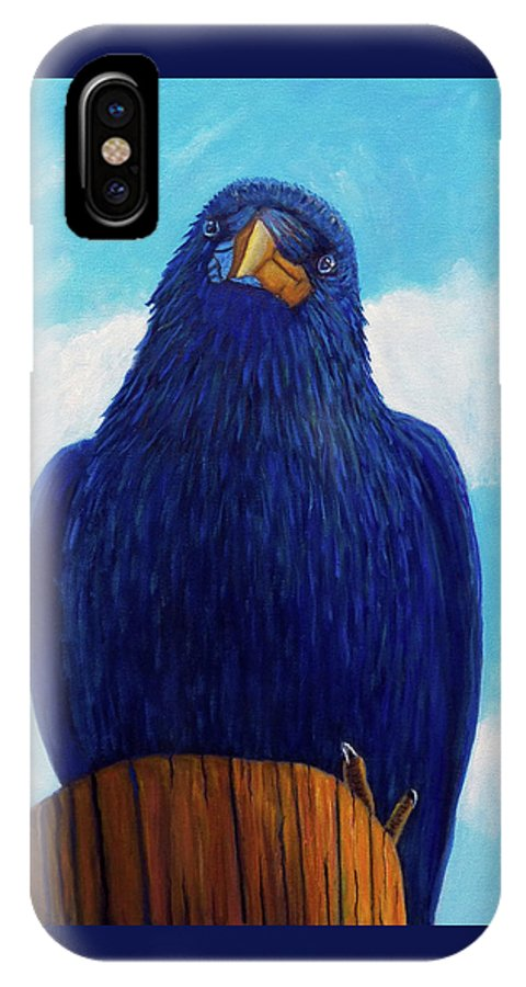 Raven IPhone X / XS Case featuring the painting Santa Fe Smile by Brian Commerford
