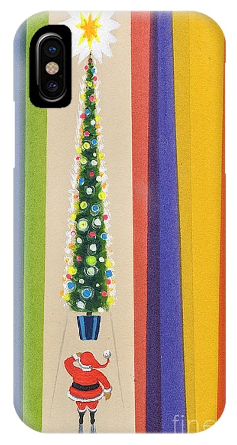 Father Christmas; Santa Claus; Decorations; Decorated; Tall; Star; Baubles; Colourful; Stripes; Seasonal; Naive IPhone X Case featuring the painting Santa's Christmas Tree by Stanley Cooke