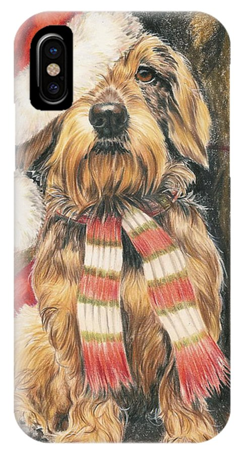Hound Group IPhone X Case featuring the drawing Santas Little Yelper by Barbara Keith