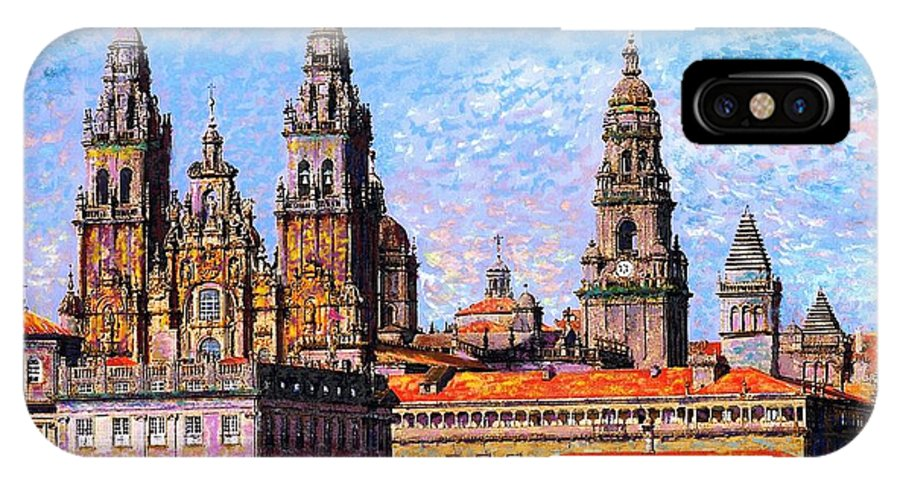 Spain IPhone X Case featuring the painting Santiago De Compostela, Cathedral, Spain by Jane Small