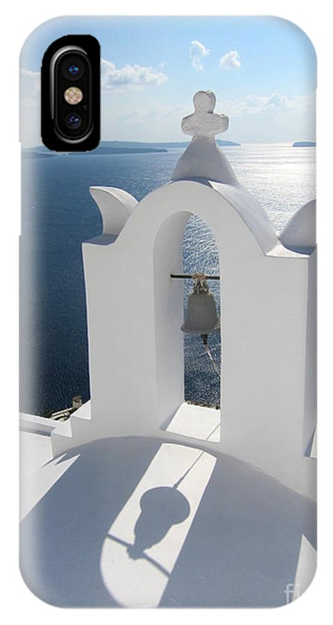 Santorini IPhone X Case featuring the photograph Santorini Bell Tower Casts Shadow by Four Stock