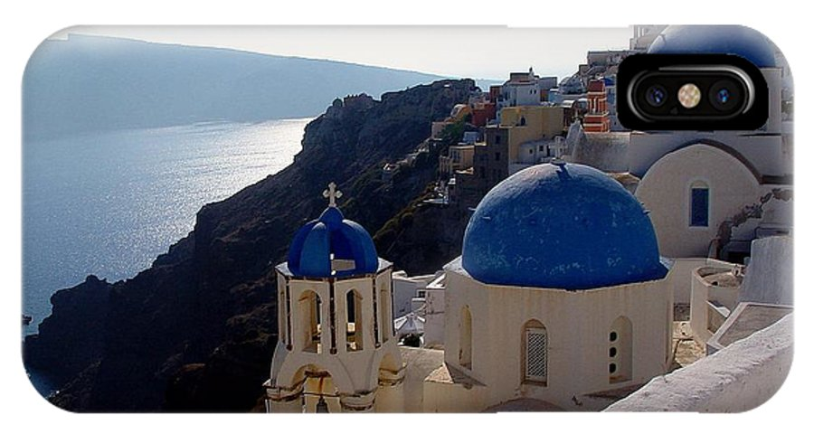 Blue Domed Roofs IPhone Case featuring the photograph Santorini Greece by Nancy Bradley