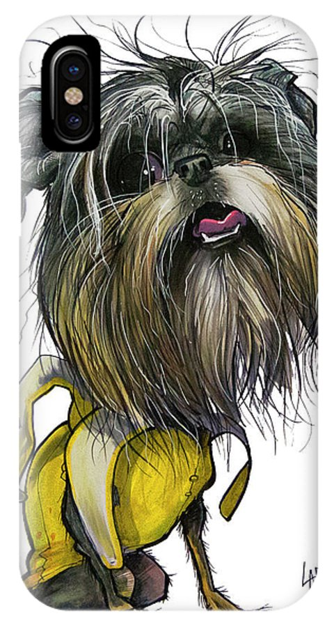 Brussels Griffon IPhone X Case featuring the drawing Sao The Banana Man by John LaFree