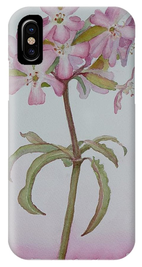 Flower IPhone X Case featuring the painting Saponaria by Ruth Kamenev