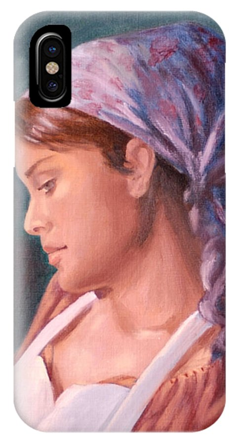 Maid IPhone X Case featuring the painting Sarah The Kitchen Maid After Johnnie Liliedahl by Quwatha Valentine