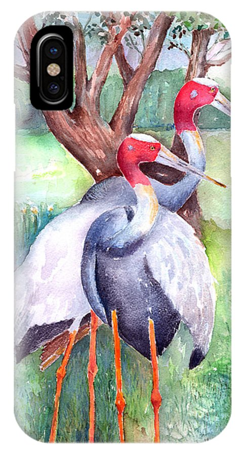 Crane IPhone X Case featuring the painting Sarus Cranes by Arline Wagner