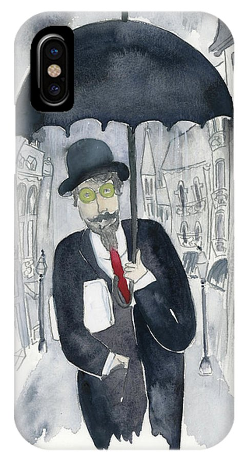 IPhone X Case featuring the painting Satie Walking In The Rain by Claud Brown