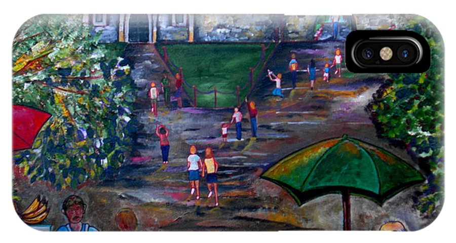 The Alamo IPhone X Case featuring the painting Saturday At Alamo Plaza by Patti Schermerhorn