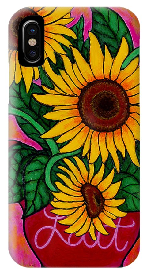 Sunflowers IPhone X / XS Case featuring the painting Saturday Morning Sunflowers by Lisa Lorenz