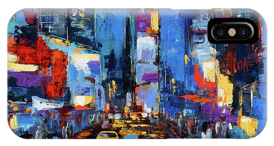Times Square IPhone X Case featuring the painting Saturday Night In Times Square by Elise Palmigiani