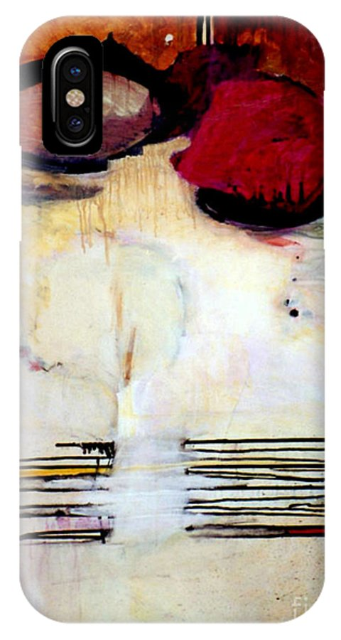 Abstract IPhone X Case featuring the mixed media Sausalito Leap Of Faith by Marlene Burns