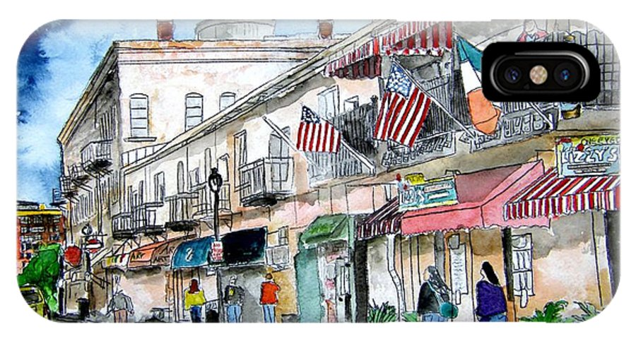 Pen And Ink IPhone X / XS Case featuring the painting Savannah Georgia River Street by Derek Mccrea