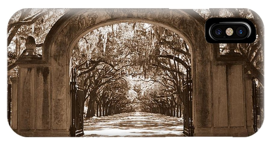 Savannah IPhone X Case featuring the photograph Savannaha Sepia - Wormsloe Plantation Gate by Carol Groenen