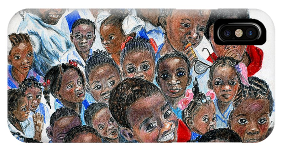 Children IPhone X Case featuring the painting Save The Children by Quwatha Valentine