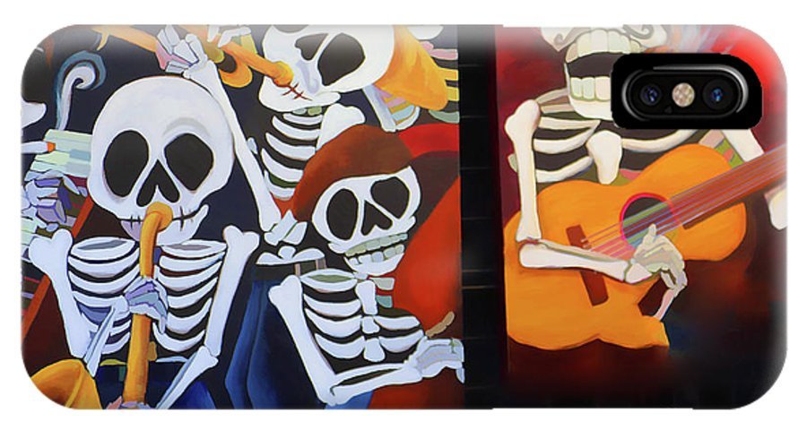 Dia De Los Muertos IPhone X Case featuring the photograph Sax Guitar Music Day Of The Dead by Chuck Kuhn